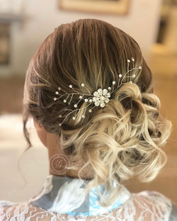 close up of bridal hair pin in hair