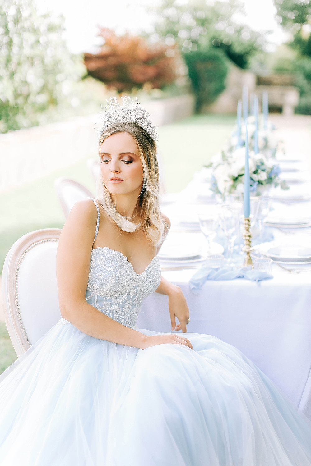 a close up of a tiara Bridal headpiece from Abigail Grace bridal accessorise on bride at hamswell house bath