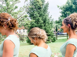 bridesmaids in mint dresses back view of bridal hair pins