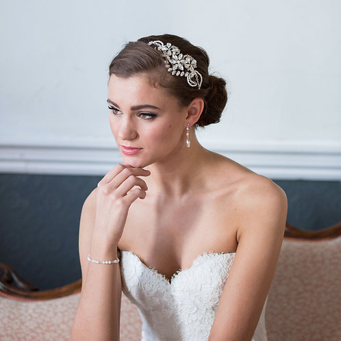 bride pink chaise white dress bridal earrings and crystal and pearl bridal headdress