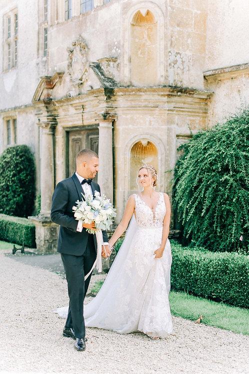 wedding couple at hamswell house Bath wearing gold bridal hai rvine