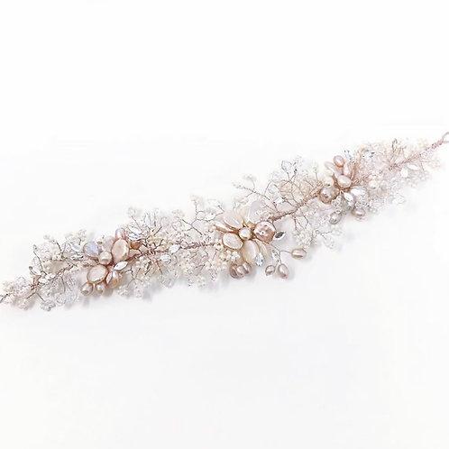 pearl and blush bridal hair vine