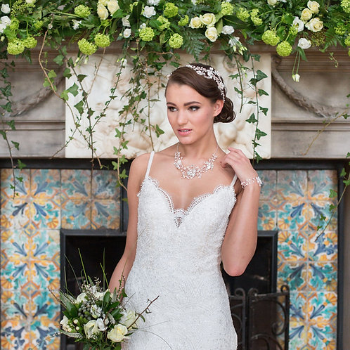 woman fireplace flowers white dress bridal accessories england