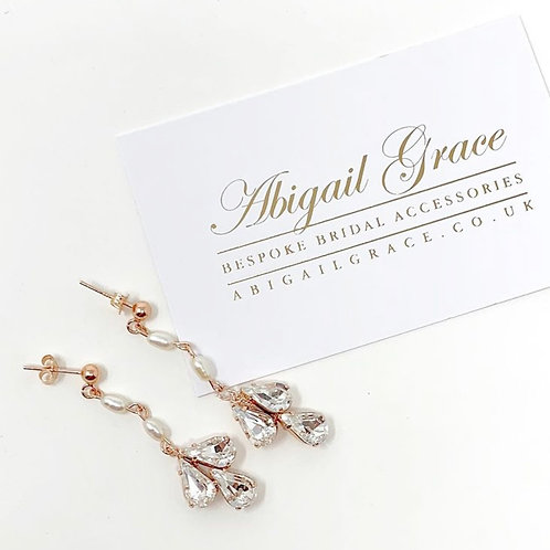 business card rose gold and pearl crystal earrings