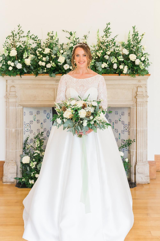 sassi holford wedding dress and abigail grace hair vine