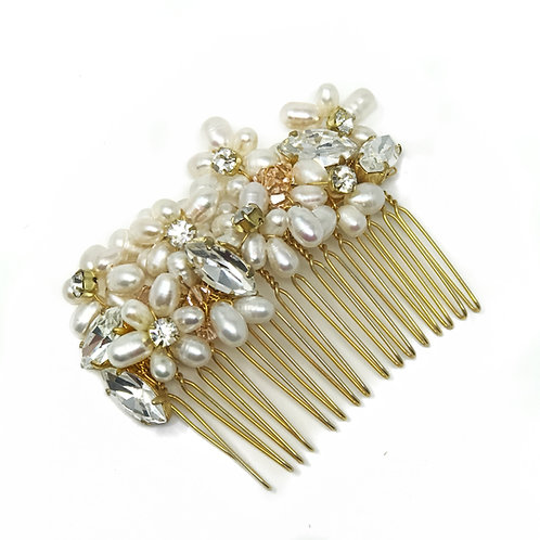 white background gold pearl and crystal bridal hair comb