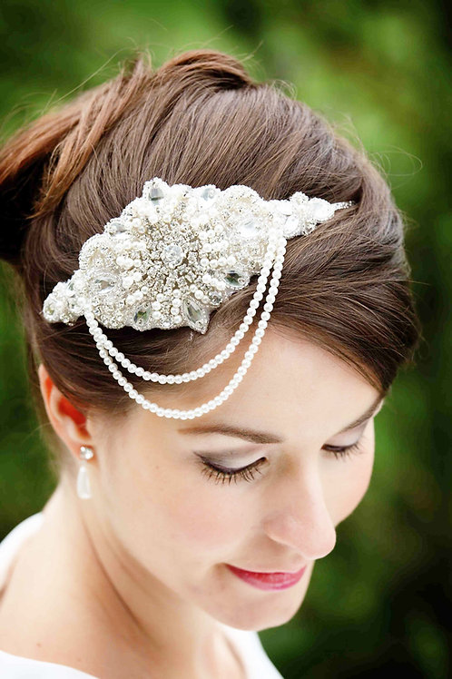 close up brunette hair bridal earrings bride pearl vintage headband