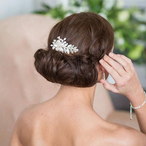 bride brunette hair silver leaf wedding hair comb
