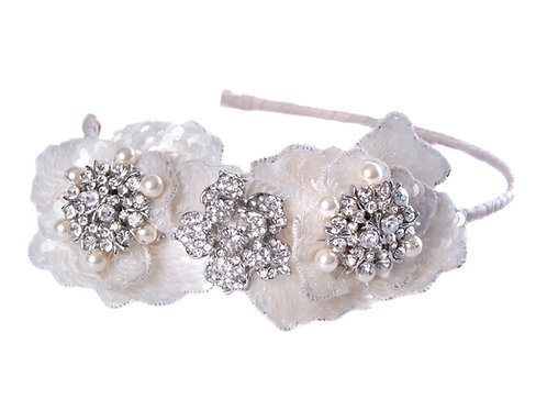 white background lace and vintage sparkle bridal headband
