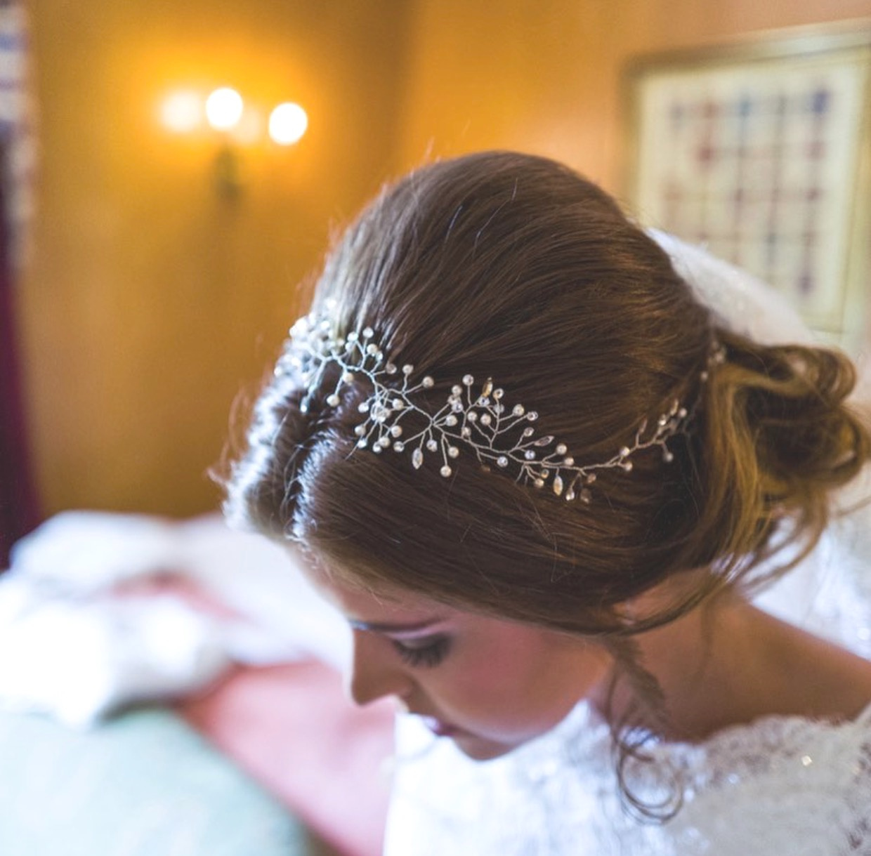 close up of bride hair with sparkle hair vine
