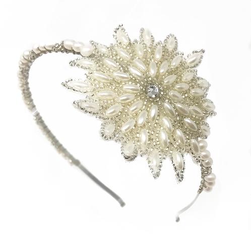 white background pearl flower bridesmaids headband