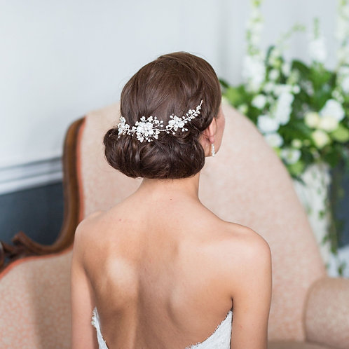 back view brunette hair ivory wedding hair vine
