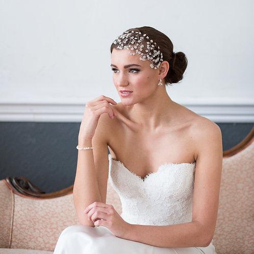 bride pink chaise white dress crystal bridal headdress