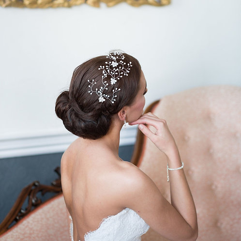 back view of brunette hair with pearl bridal hair pins