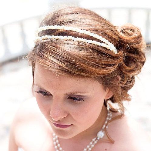 lady brown hair double pearl wedding headband