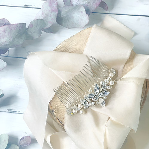 bridal hair comb in UK on ivory ribbon