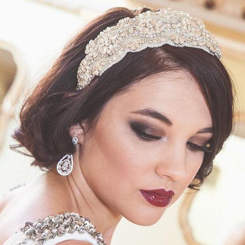 bride brunette hair red lips large bridal crystal headband