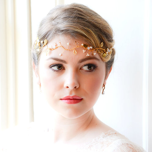 front view leaf gold bridal hair vine