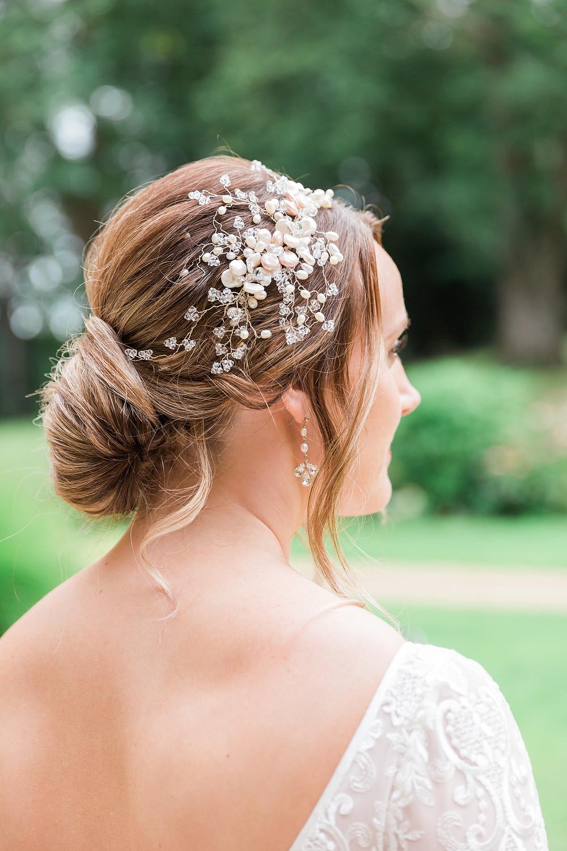 Abigail Grace wedding hair vine on bride