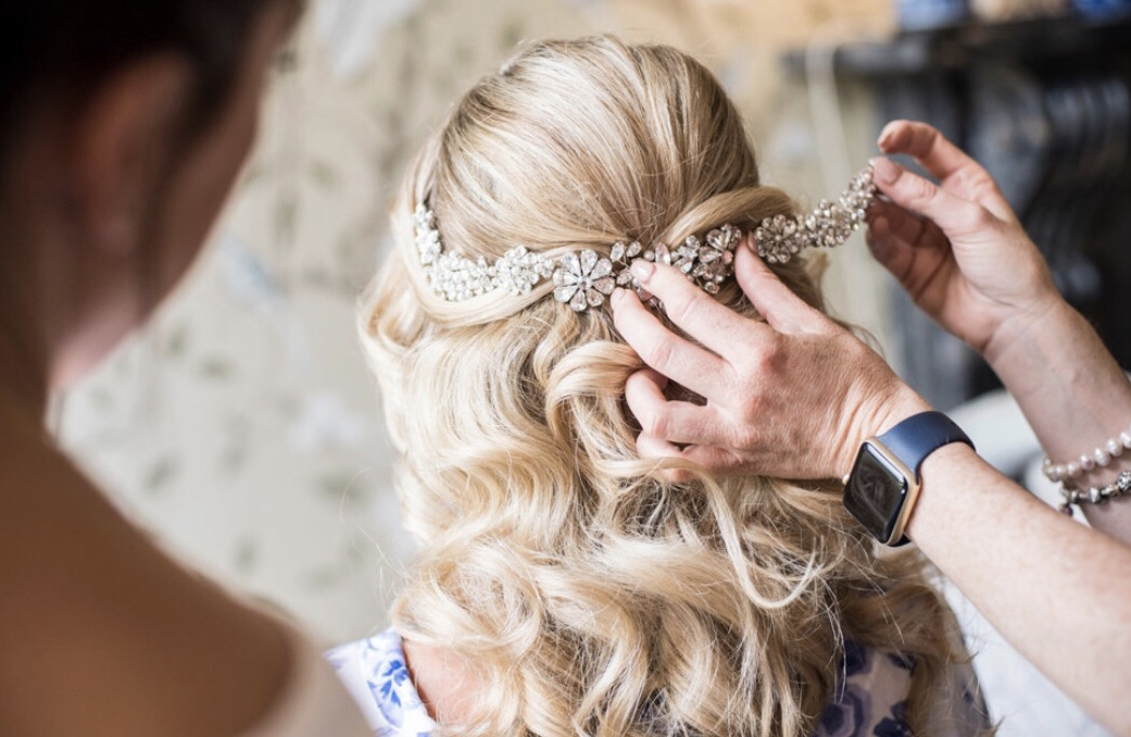 bridal hairvine on blonde hair