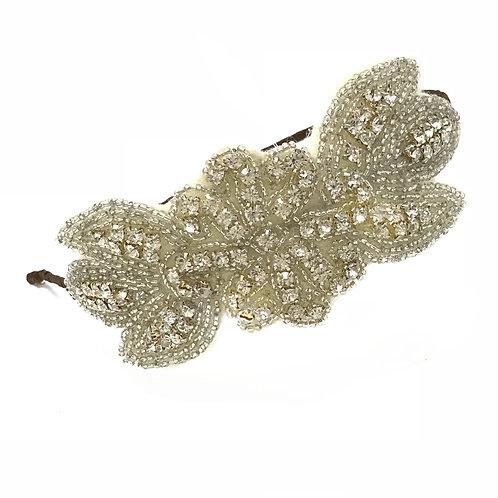 white background crystal vintage style wedding headdress on brown band