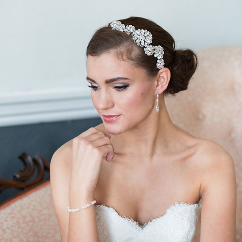 face white lace dress pink chair crystal bridal headband