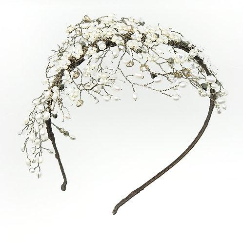 white background  bridal headdress