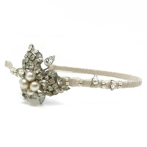 white background vintage pearl sparkly bridal headband on blush ribbon