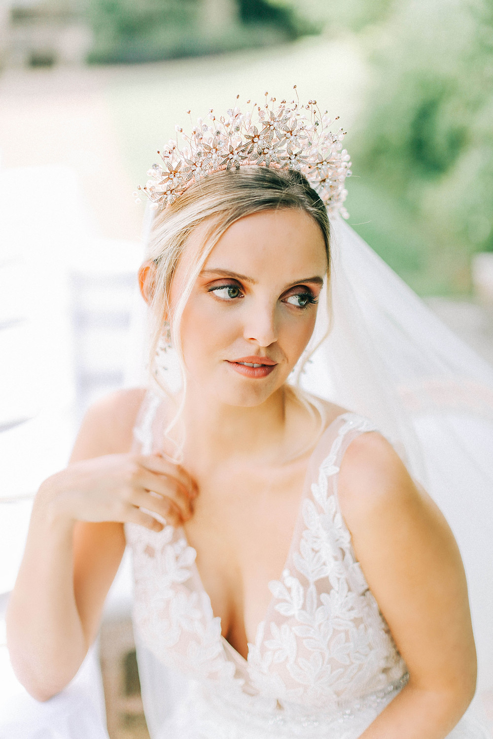 close up of gadina bridal tiara from Abigail grace bridal Accessories on bride at hamswell house