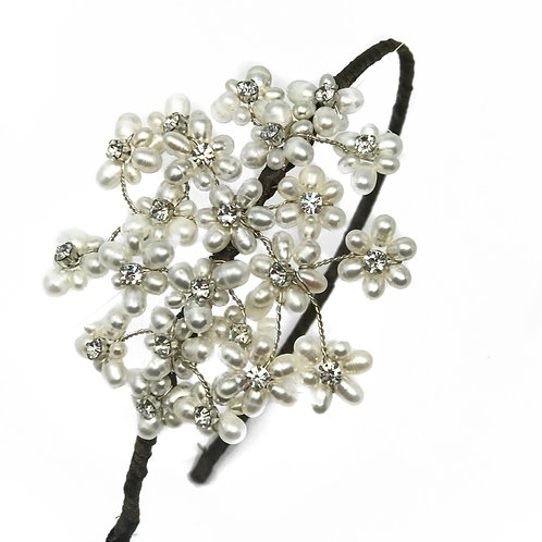 white background pearl cluster with crystal bridal headband