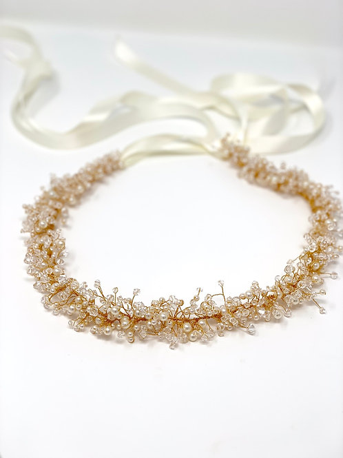 Gold hair vine with crystals and ribbon