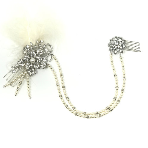 white background  pearl and crystal with ivory feather bridal hair chain