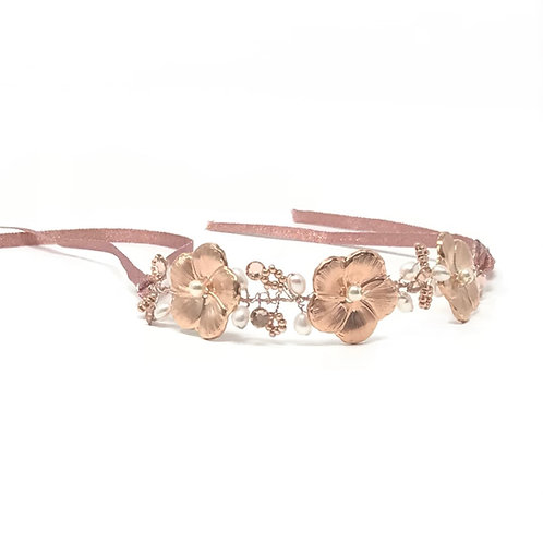 white background rose gold bridal bracelet
