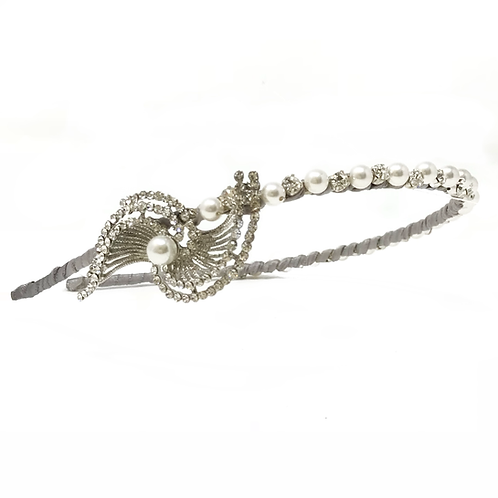 white background vintage pearl sparkly bridal headband