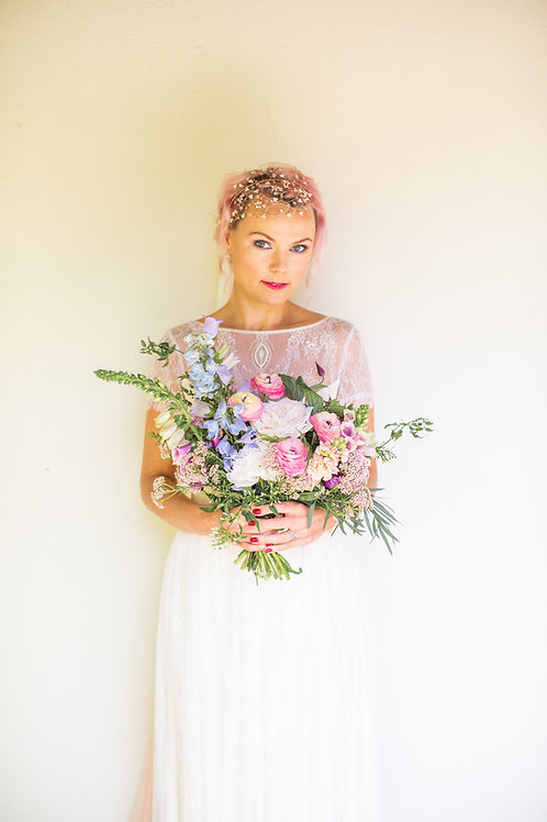 bride flowers pink hair white dress pink bridal headdress