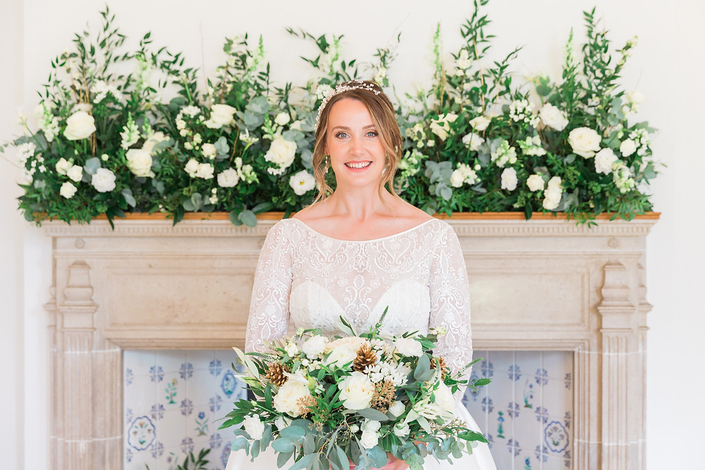 Abigail Grace bridal hair vine and Sassi Holford wedding dress and florals