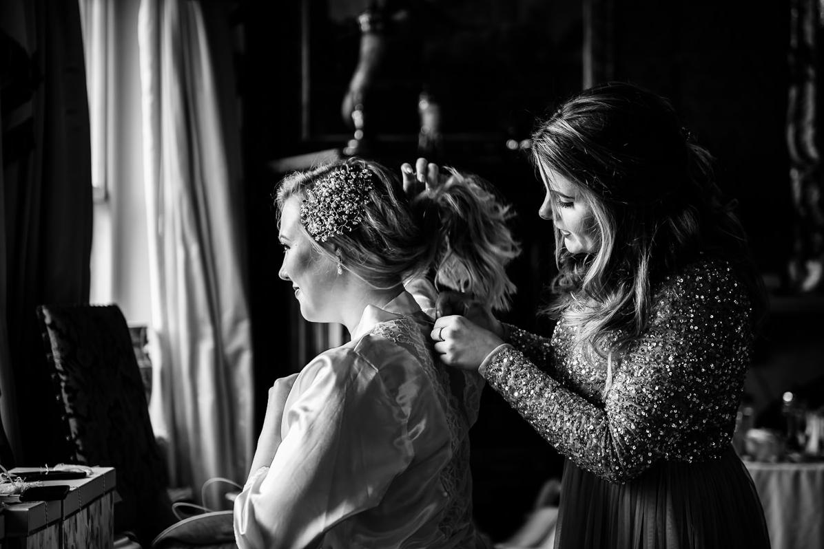 bridal hair being styed