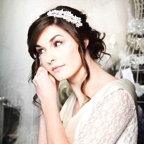 woman white dress dark hair cluster of pearl wedding headdress