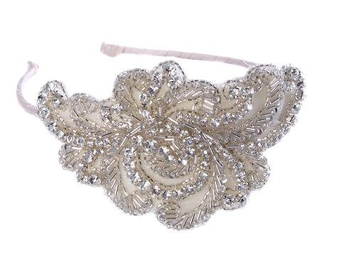 white background bridal headddress pink ribbon