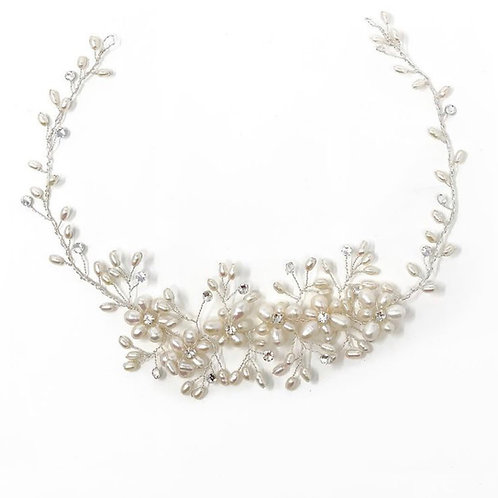 white image with ivory pearl wedding hair vine