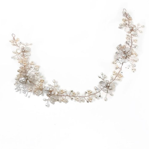 white image with mother of pearl bridal hair vine