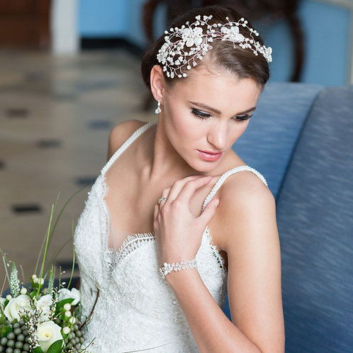 lady white dress flowers large bridal pearl wedding headdress