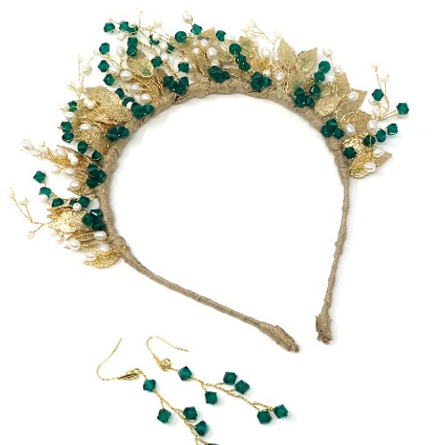gold leaf and green crystals bridal tiara with earrings