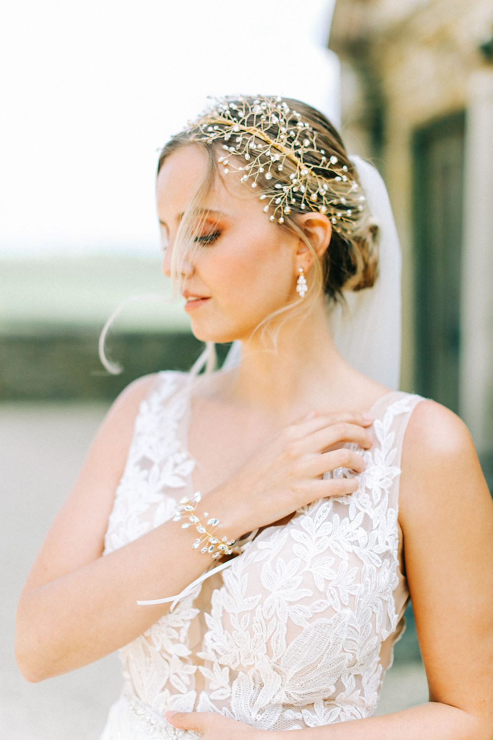 bridal hair vine from Abigail Grace bridal accessories and bracelet at hamswell house bath