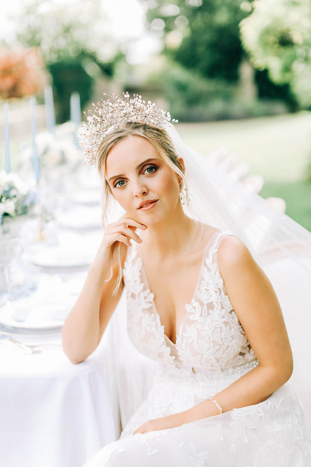close up ofbridal tiara from Abigail grace bridal Accessories on bride