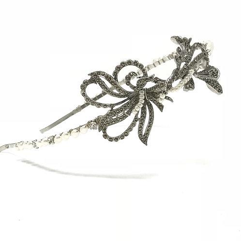 white background vintage pearl sparkly wedding headband