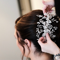 bridal pearl hair vine on brunette hair