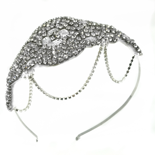 white background crystal bridal headband with hanging chains