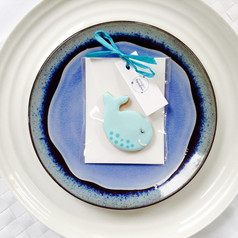 Cute whale iced biscuit favour