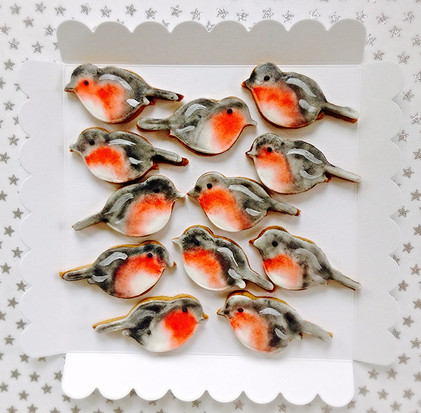 Handpainted little robin red breast biscuits